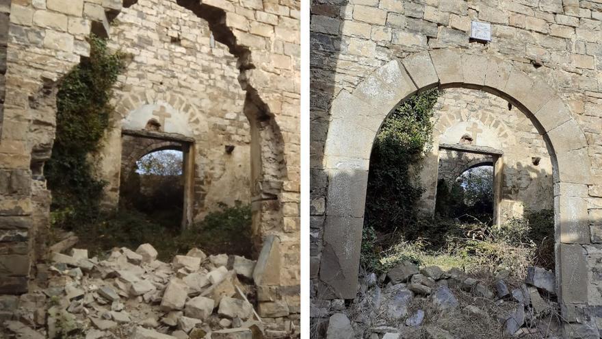 Estado en el que ha quedado el muro del atrio de la iglesia de Huértalo; a la derecha, el arco antes de ser robado.