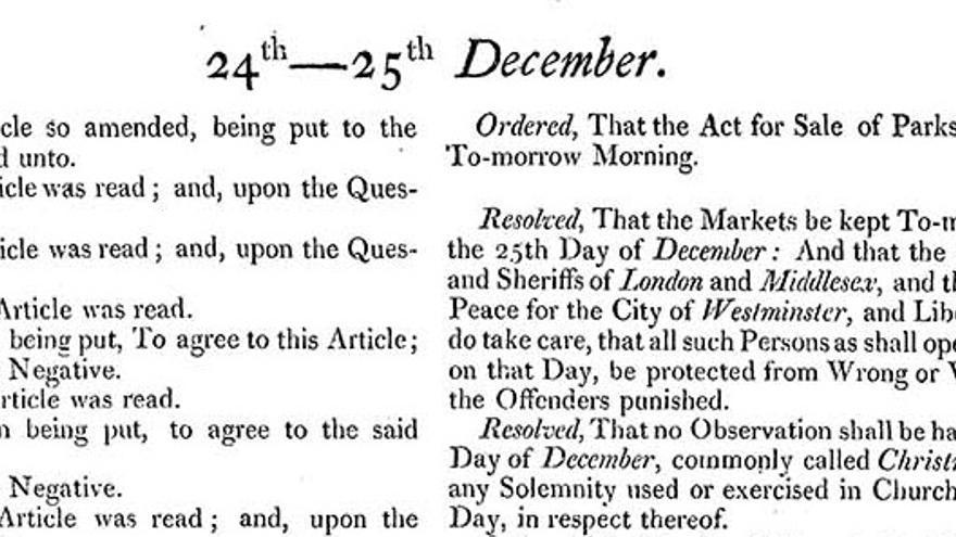 Fragmento del Diario de Sesiones de la Cámara de los Comunes del 24 December 1652 en el que aprueban la prohibición de la Navidad