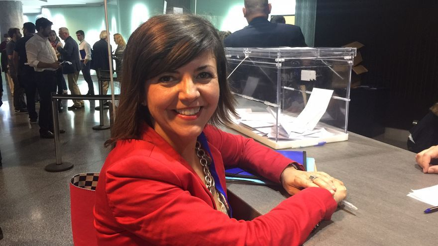 Nerea Llanos, tras votar en el congreso del PP de Bizkaia.