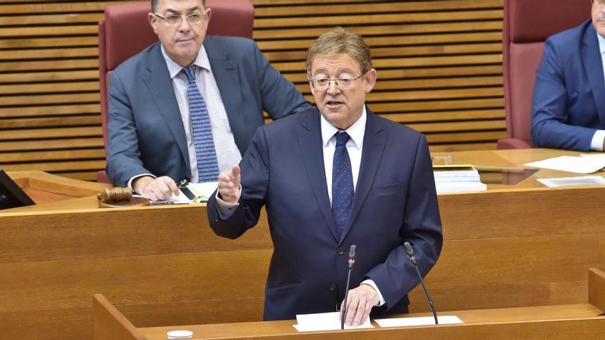 El president de la Generalitat, Ximo Puig, interviene en la sesión de control en las Corts