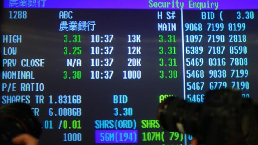 El índice Hang Seng baja un por 0,28 por ciento a media sesión