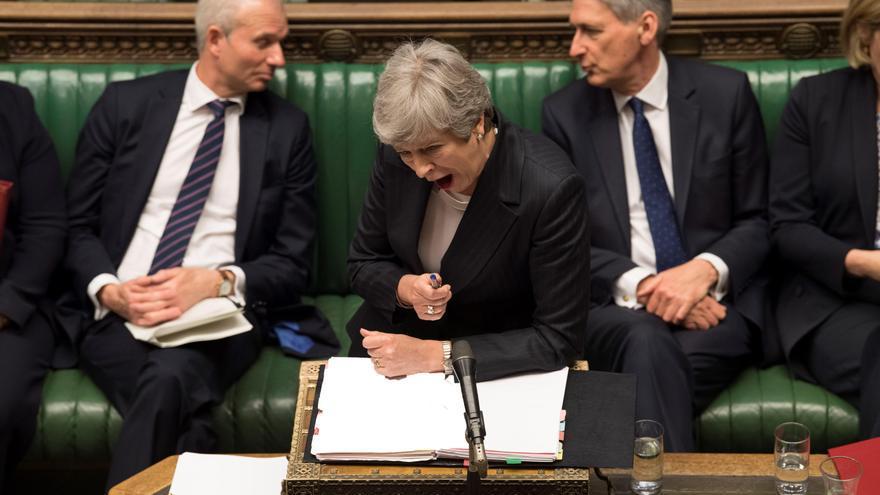 La primera ministra, Theresa May, durante la sesión de control celebrada en el Parlamento británico, este miércoles.