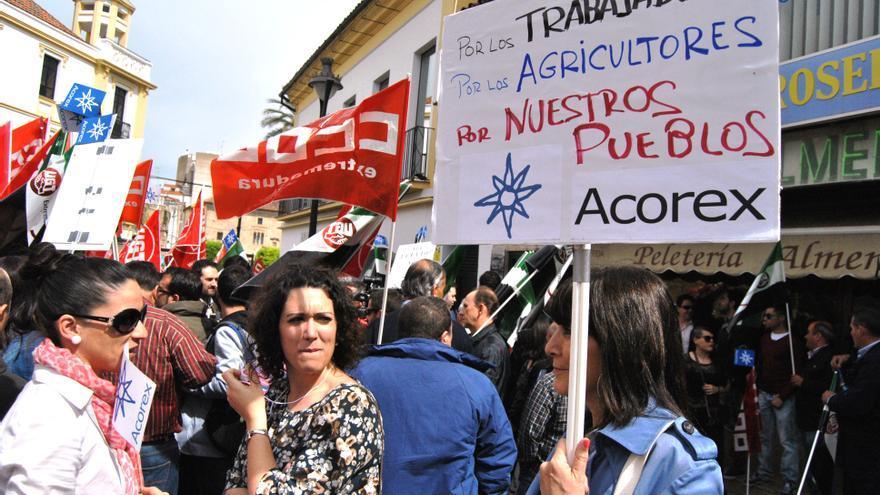 Manifestación de trabajadores de Acorex