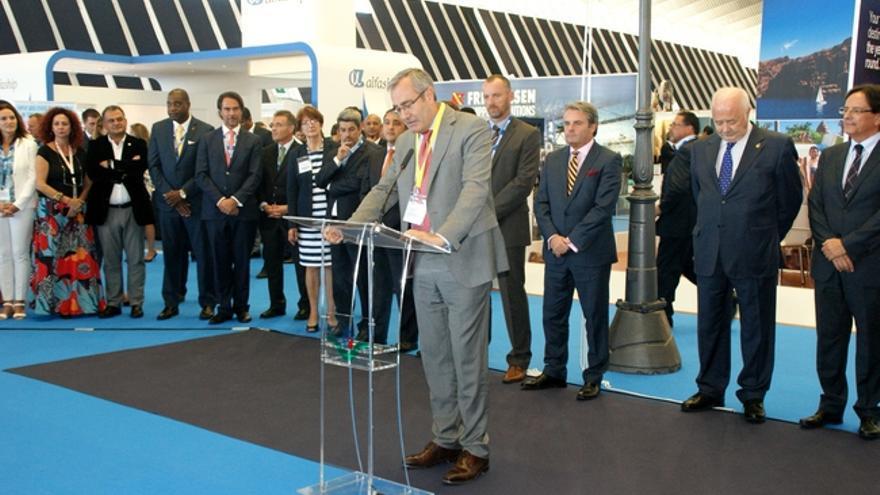 José Llorca, presidente de Puertos del Estado, durante la inauguración de la Seatrade Cruise Med en Tenerife