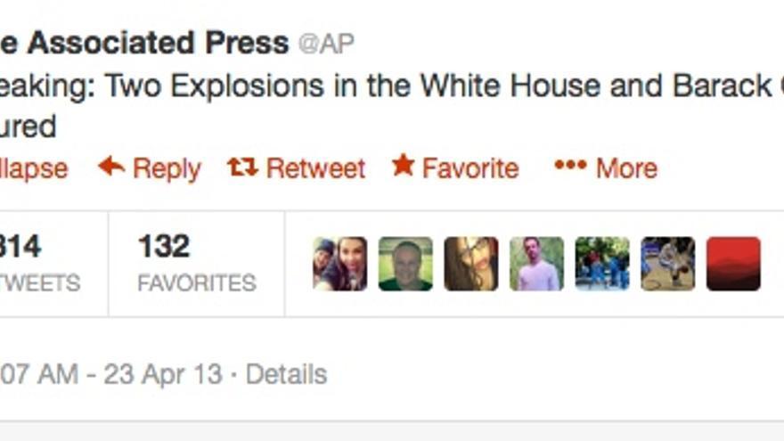 El tuit falso de AP que provocó el hundimiento repentino del Dow Jones.