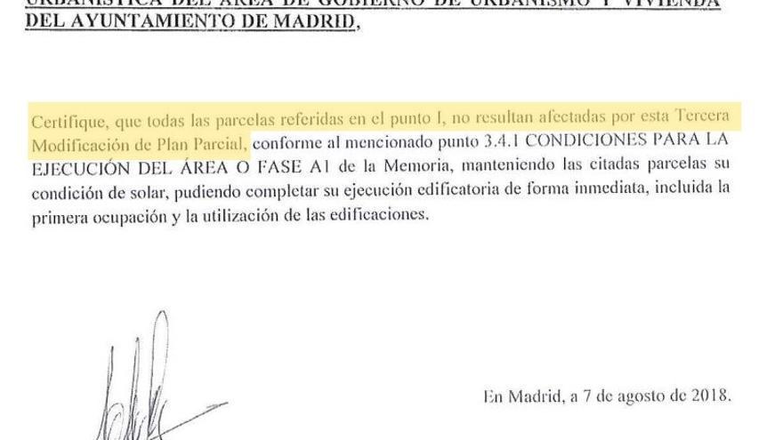 Esta es la carta que envió Dragados al Ayuntamiento de Madrid para que le certificara que no había cambios en sus parcelas