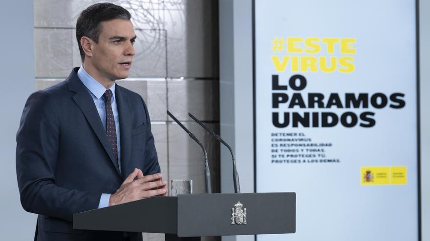 Pedro Sánchez en su intervención en Moncloa el 22 de marzo.