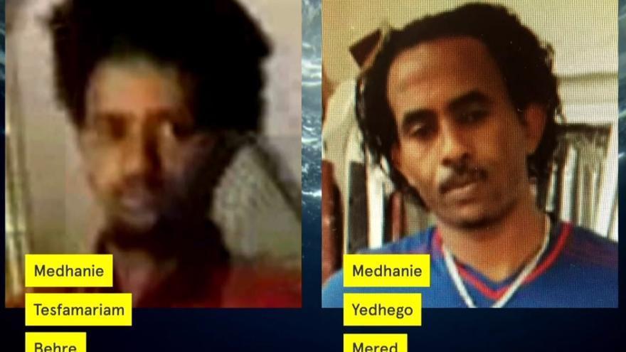 El hombre encarcelado en Italia acusado de tráfico de personas (izquierda) y el traficante que sigue libre en Uganda (derecha).