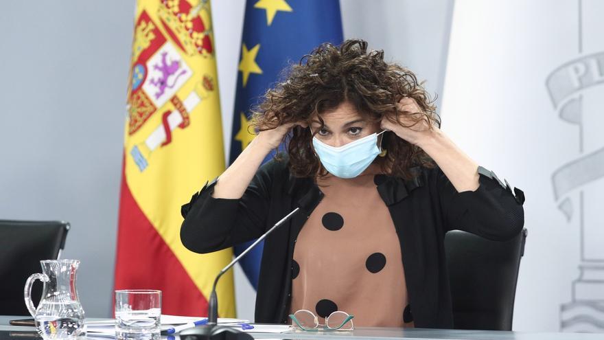 La portavoz del Gobierno, María Jesús Montero, durante la rueda de prensa del Consejo de Ministros del martes.