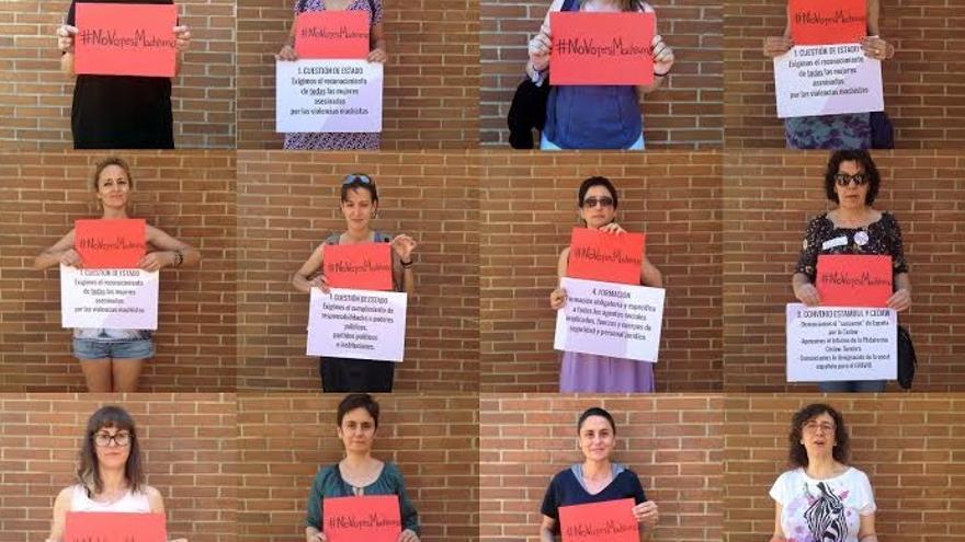 Mujeres del movimiento feminista extremeño con el mensaje 'No votes machismo'