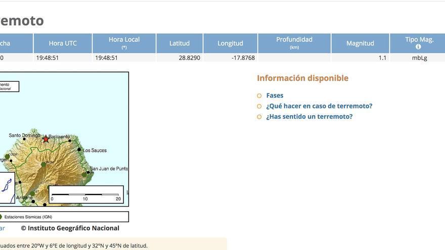 Información del terremoto registrado por el IGN este martes, 13 de enero, en el municipio de Garafía.