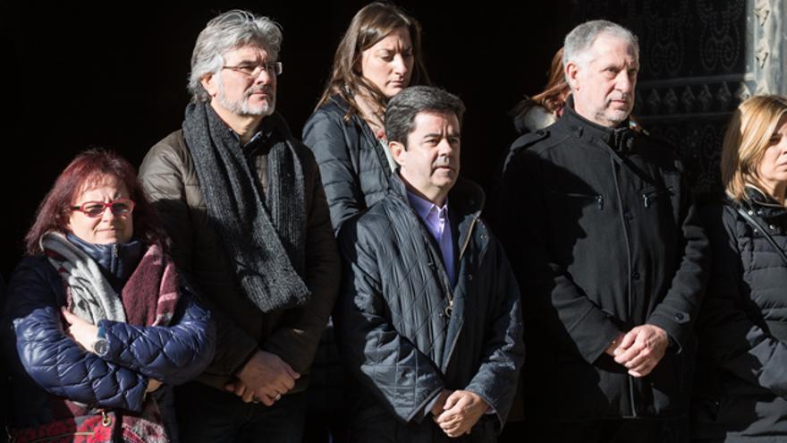 Luis Felipe en el minuto de silencio por los asesinatos machistas del pasado fin de semana.