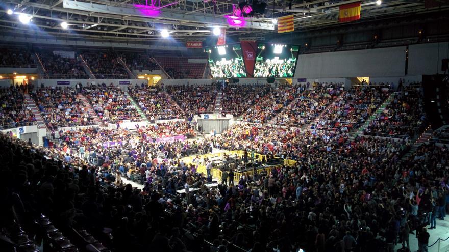 EL pabellón Príncipe Felipe de Zaragoza, durante el acto de Podemos. / Aitor Riveiro
