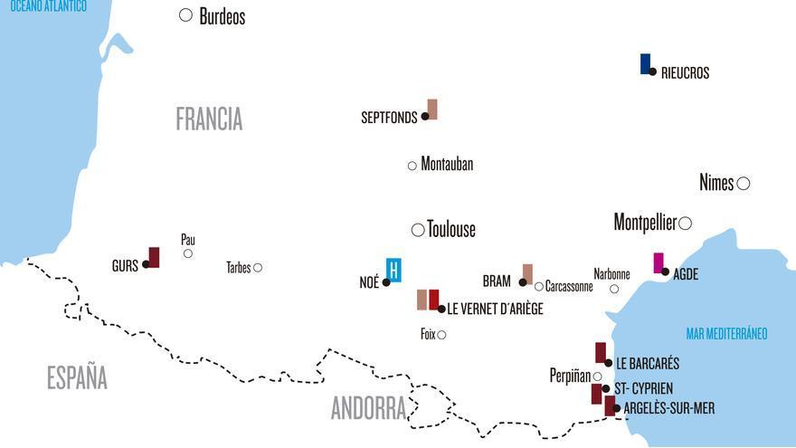 Mapa con los campos de concentración en Francia. | EMMANUEL GIMENO