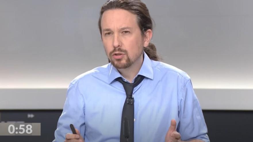 Pablo Iglesias, durante el debate a cinco