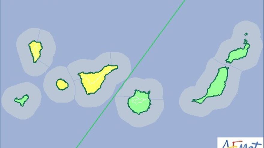 Mapa del aviso amarillo por riesgo de lluvia elaborado por la Aemet para el domingo, 19 de octubre.