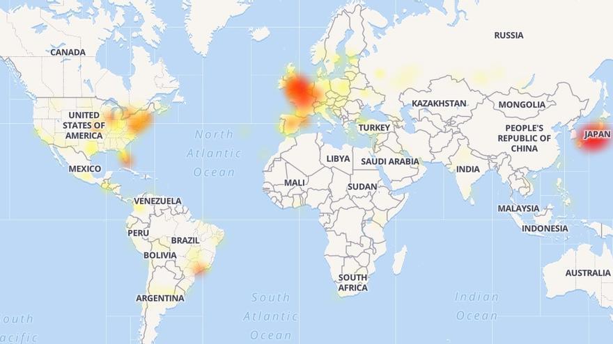 Gráfico de la página downdetector que muestra el fallo técnico de Twitter a nivel global.