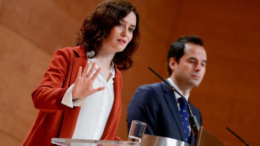 La presidenta de la Comunidad de Madrid, Isabel Díaz Ayuso, y el vicepresidente Ignacio Aguado