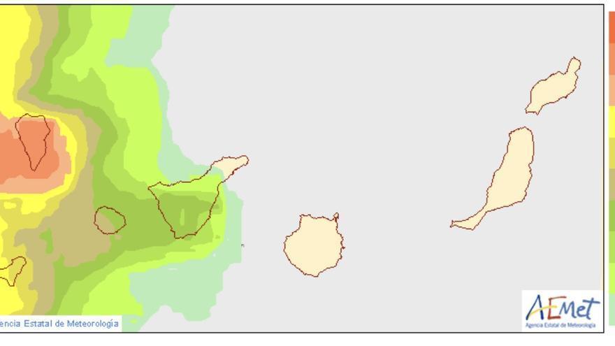Mapa de la Aemet sobre probabilidad, en tanto por ciento, de que la precipitación total entre las 00 y 24 horas del sábado, sea superior o igual a 20 mm.
