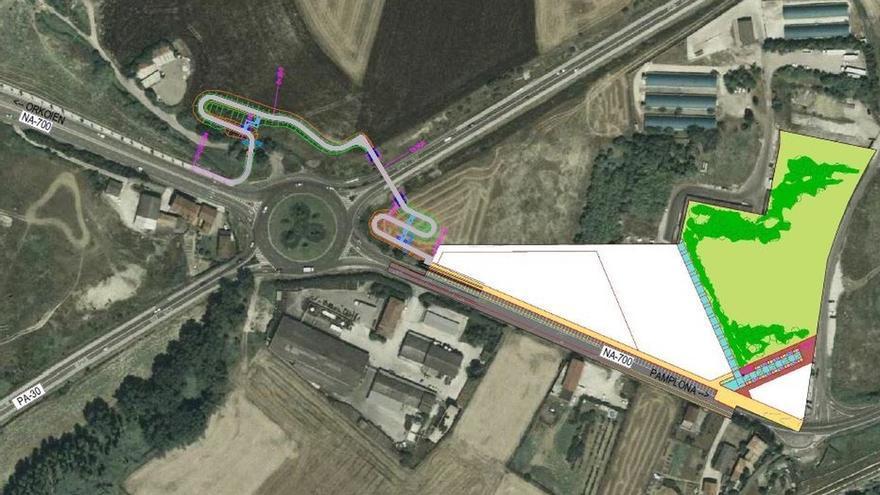 La pasarela que conectará Pamplona y Orkoien contará con una senda de acceso peatonal de 430 metros