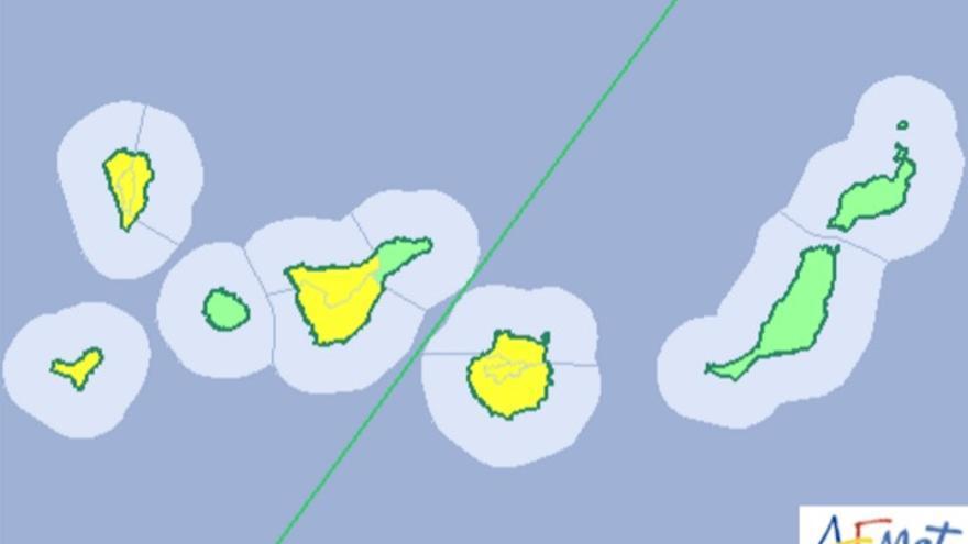 Mapa de la Aemet del aviso de riesgo por viento para este fin de semana.