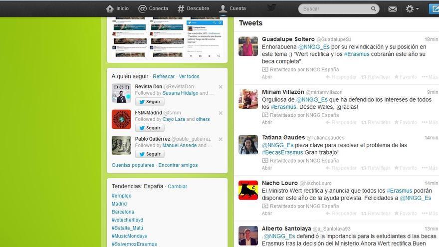 Captura de la cuenta de Nuevas Generaciones del Partido Popular en Twitter