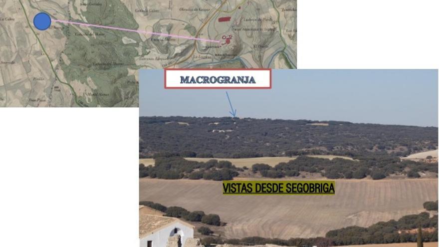 Distancia entre Segóbriga y la macrogranja porcina de Almendros