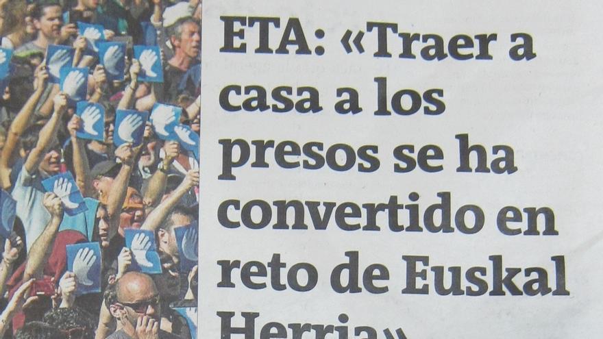 """ETA asegura que """"no dirige la acción"""" de los presos y cede al EPPK a sus interlocutores Pla y Sorzabal"""