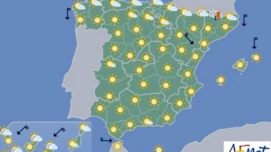 Hoy, temperaturas altas en interior sur de la península