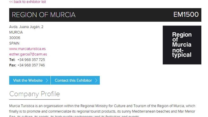 Imagen turística de la Región de Murcia en el portal de la WTM de Londres