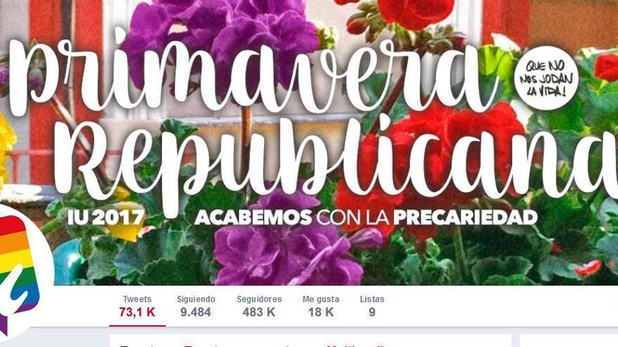 Página principal de la cuenta de Twitter de Izquierda Unida.