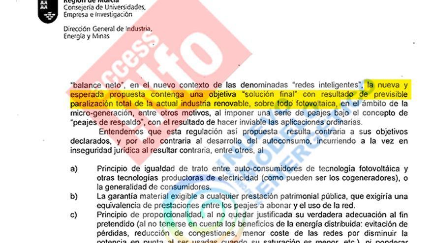 Extracto de las alegaciones de Murcia al borrador de decreto de autoconsumo de julio de 2013.