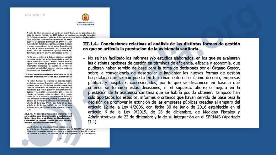 Parte del anteproyecto del informe de fiscalización de gasto sanitario en Madrid (2011-2015). | FUENTE: Filtrala.org