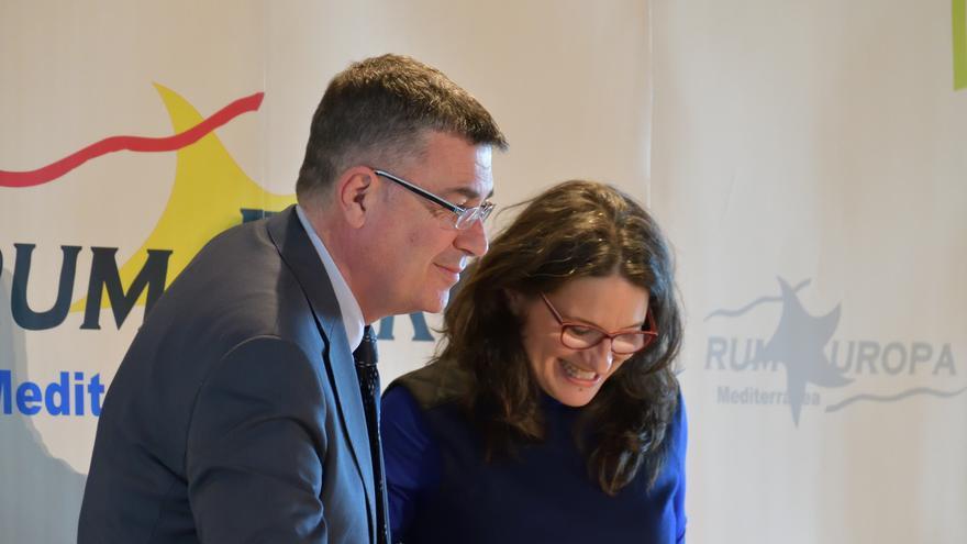 Enric Morera y Mónica Oltra, durante la conferencia del presidente de Les Corts.