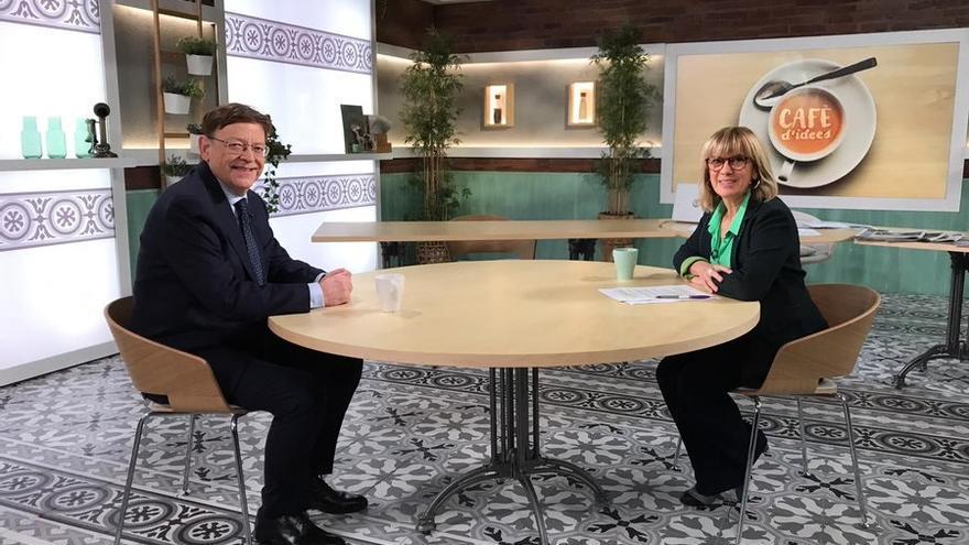 El presidente de la Comunidad Valenciana, Ximo Puig, y la periodista Gemma Nierga
