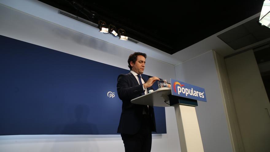 El secretario general del Partido Popular, Teodoro García Egea, ofrece una rueda de prensa posterior a la reunión del Comité de Dirección del PP, a 31 de mayo de 2021, en Madrid (España).