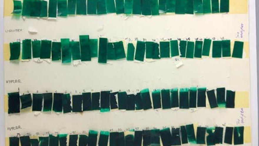 Muestras de pintura en diferentes estado de envejecimiento utilizadas para probar el método de datación química.