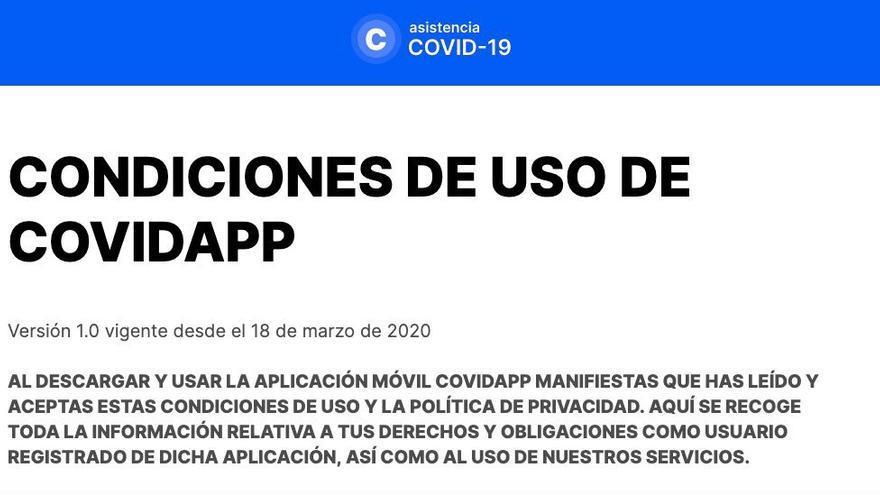 Condiciones de uso de Covidapp, la app contra el coronavirus de la Comunidad de Madrid.