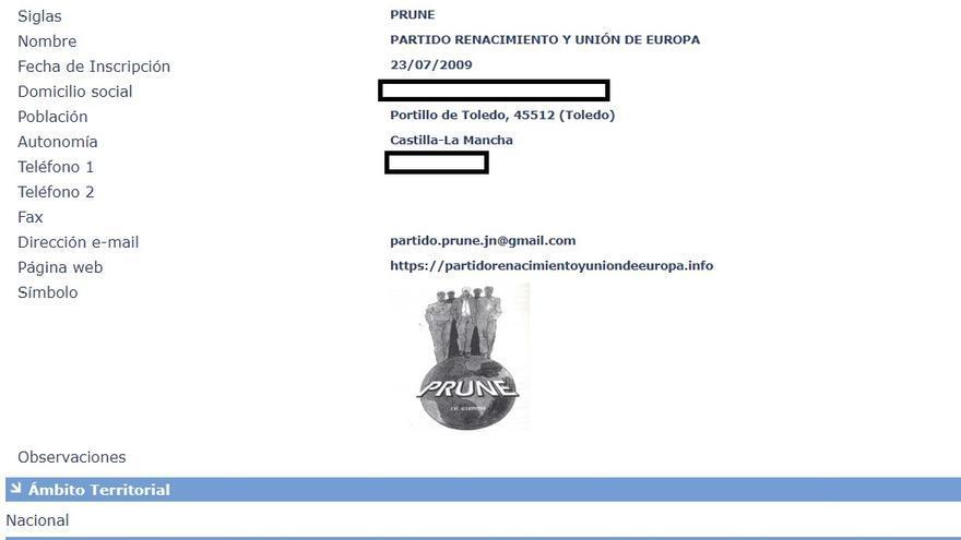 PRUNE registro oficial