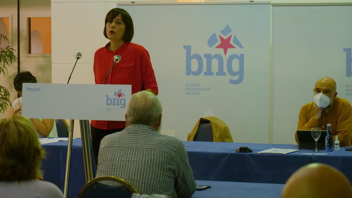 La portavoz del BNG, Ana Pontón, en su intervención ante el Consello nacional de la formación.