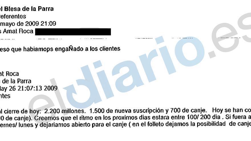 Extracto de un correo electrónico entre el presidente de Caja Madrid en 2009, Miguel Blesa, y su director general de Negocios sobre el lanzamiento de preferentes (eldiario.es)