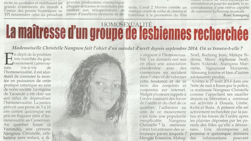 """Noticia publicada en un diario de Camerún donde llaman a Christelle """"líder de un grupo de lesbianas"""" y dicen que la homosexualidad es una 'práctica satánica'"""