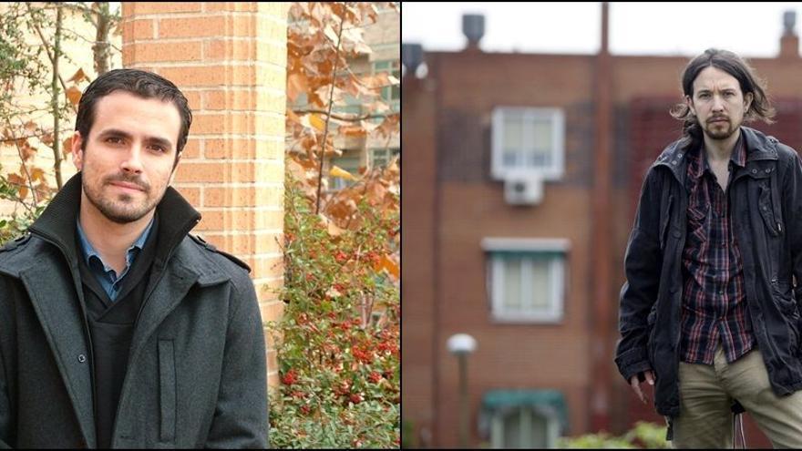El diputado de IU Alberto Garzón y el rostro visible de Podemos, Pablo Iglesias. / Diagonal