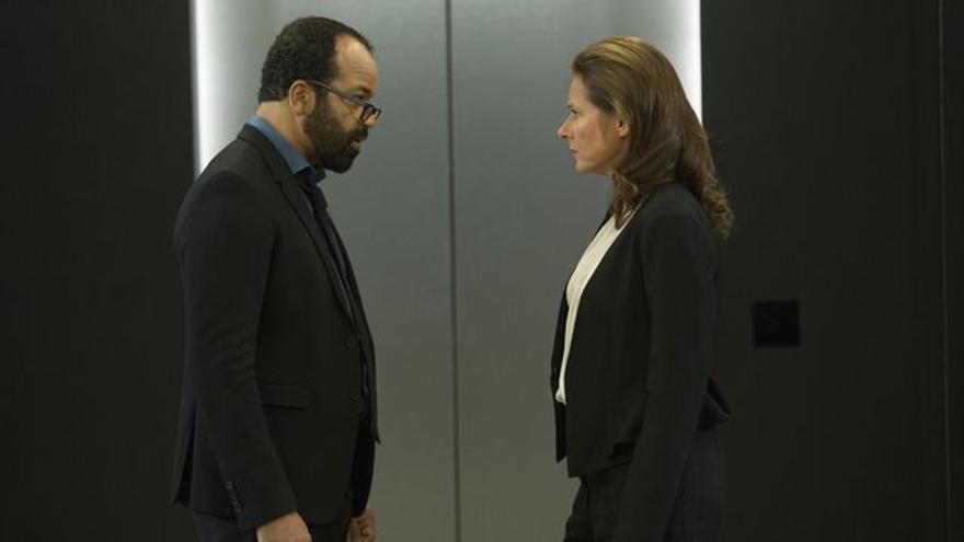 Wright con Sidse Babett Knudsen (Theresa)
