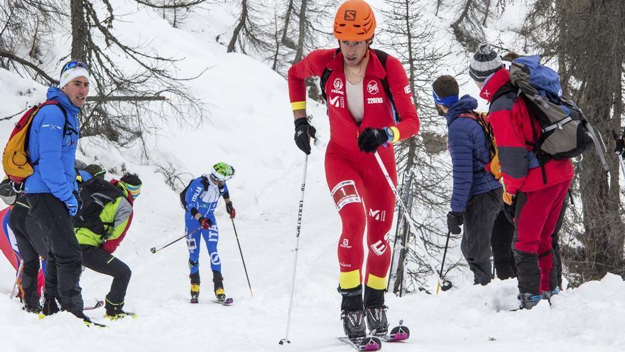 Kilian Jornet durante la prueba Individual en la Valtellina Orobie (© ISMF).