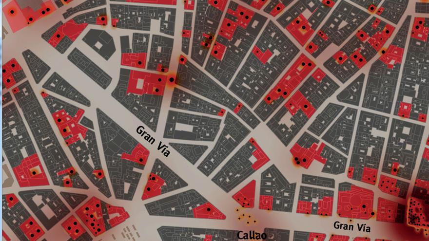 Fragmento del mapa de Enrique Bordes y Luis Sobrón sobre el Madrid bombardeado