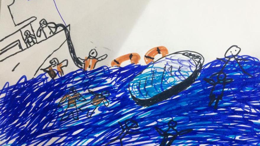Uno de los dibujos del mar de los niños del campamento de Pikpa.