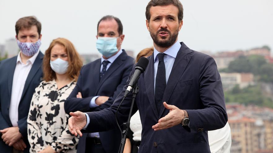 Pablo Casado en un acto de campaña en Errentería (Euskadi).