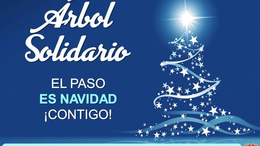 Cartel de la inauguración del árbol solidario de El Paso.