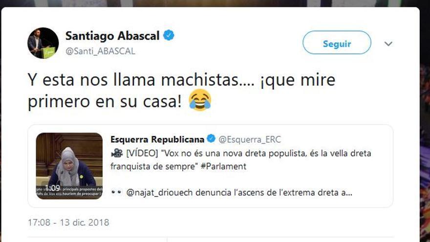 Tuit de Abascal contra la diputada musulmana de ERC